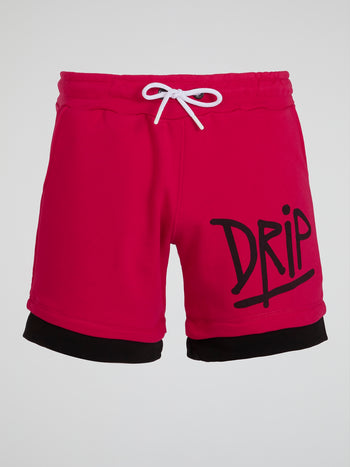 Red Overlay Hem Shorts