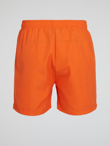 Orange Elasticized Waistband Shorts