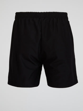 Black Elasticized Waistband Shorts