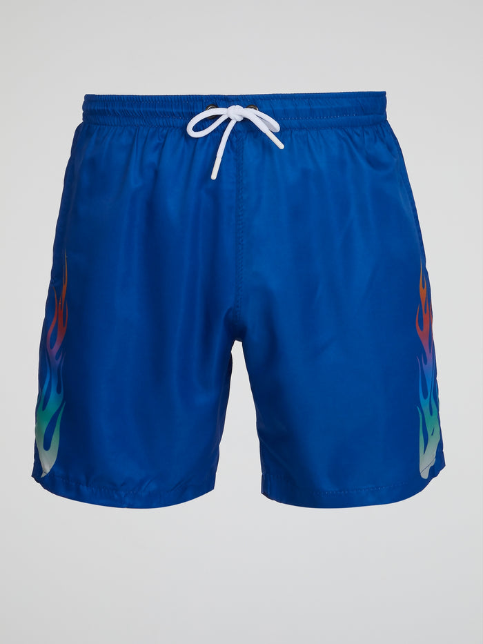Blue Flame Print Swim Shorts