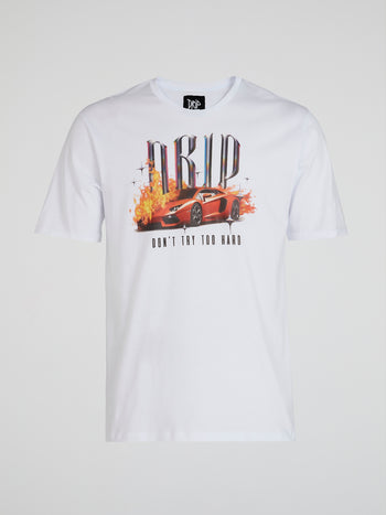 White Graphic Print Statement T-Shirt