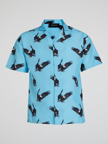 Eagle All Over Print Satin Shirt