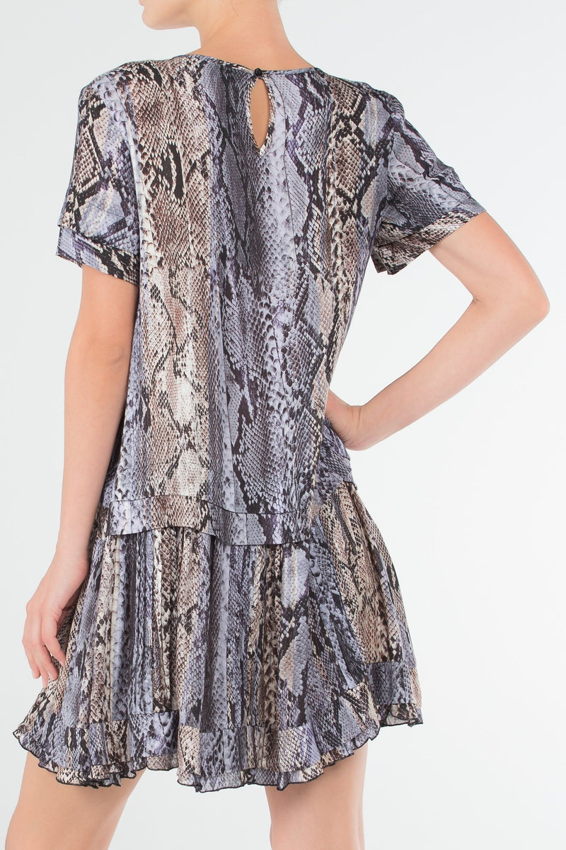 Purple Python Print Frill Dress