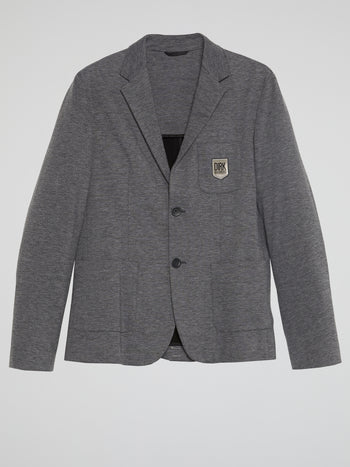 Grey Appliquéd Blazer