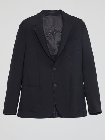 Navy Pocket-Detail Blazer