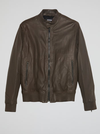 Brown Ribbed Trim Leather Jacket