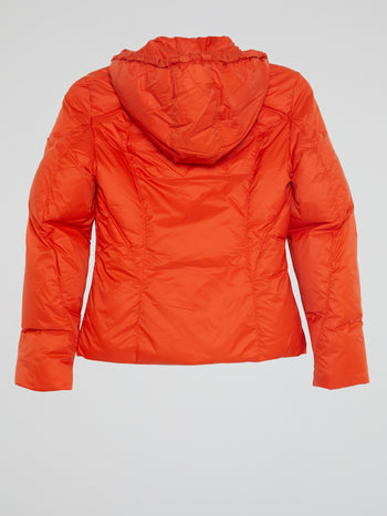 Orange Zip-Up Down Jacket