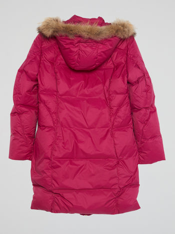 Pink Zip-Up Quilted Parka