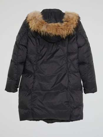 Black Zip-Up Quilted Parka