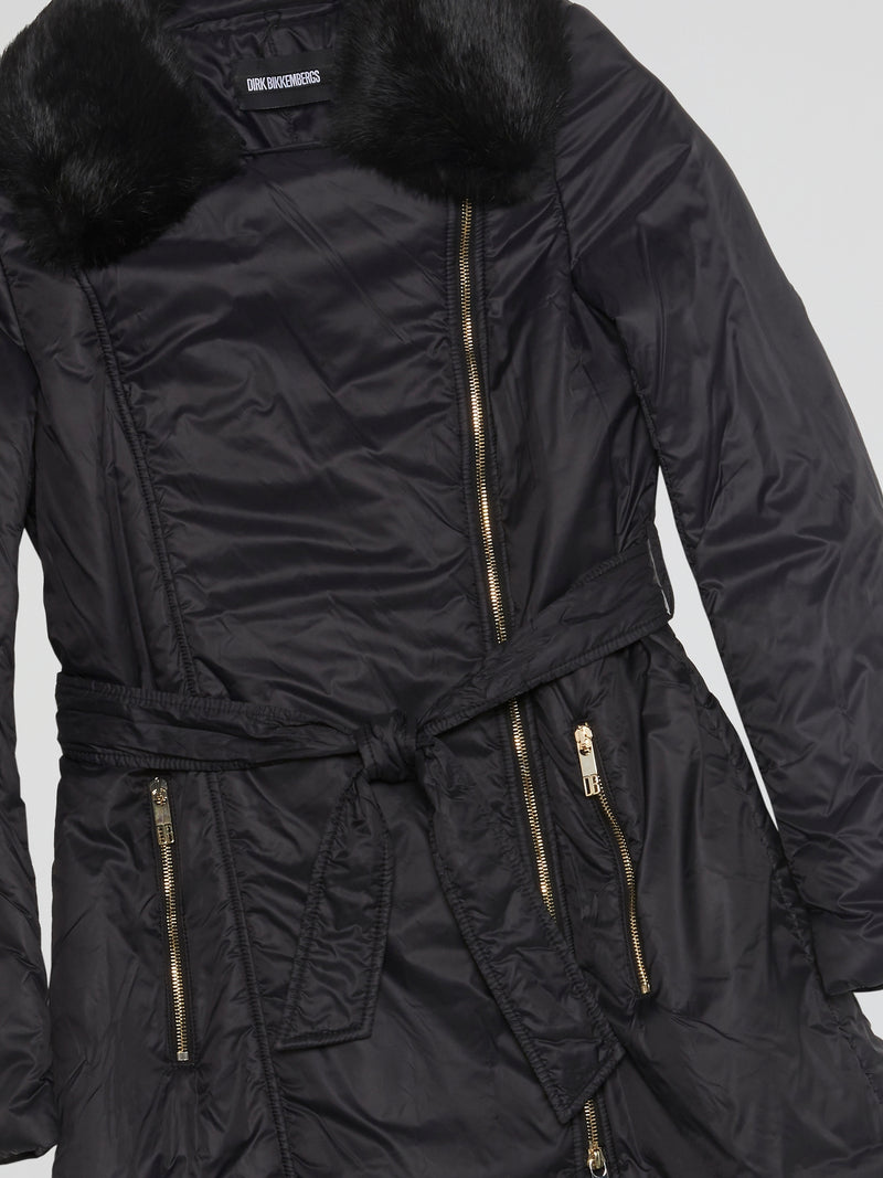 Black Quilted Trench Coat