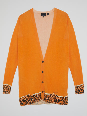 Orange Leopard Print Hem Cardigan