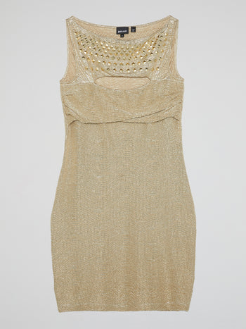Gold Embellished Cut-Out Dress