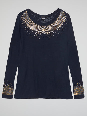 Navy Studded Long Sleeve Top