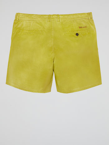 Chartreuse Leather Shorts