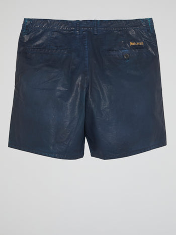 Navy Leather Shorts