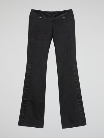 Black Snake Effect Bootcut Pants