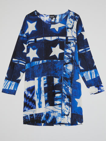 Blue Star Print Shift Dress