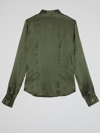 Olive Long Sleeve Silk Shirt
