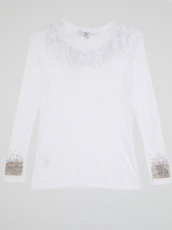 White Studded Long Sleeve Top