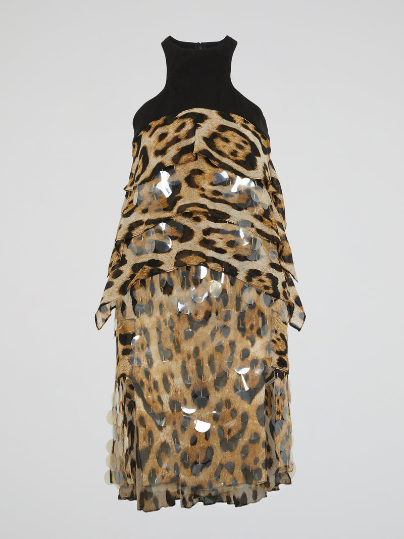 Leopard Print Layered Mini Dress