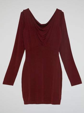 Burgundy Cowl Neck Dress