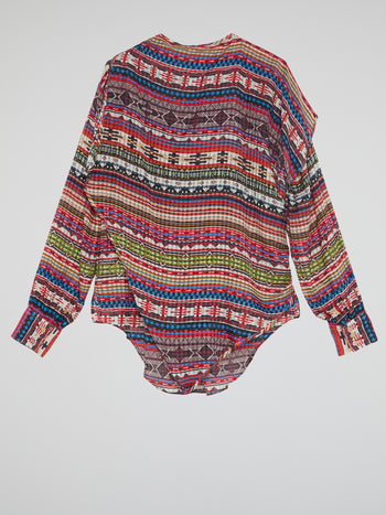 Tribal Print Long Sleeve Top