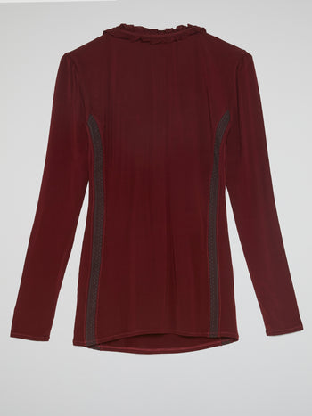 Burgundy Long Sleeve Frill Top