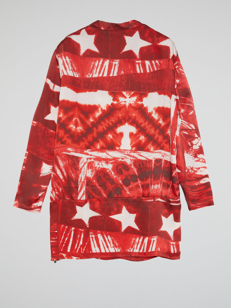 Red Star Print Lace-Up Dress