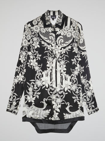Contrast Lace Floral Detail Dress Shirt