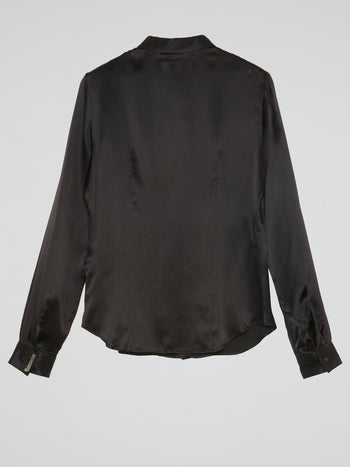 Black Long Sleeve Silk Shirt