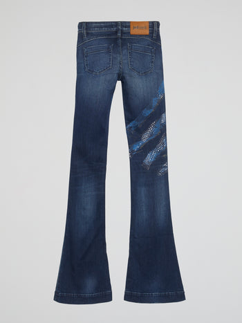 Printed Flared Denim Jeans