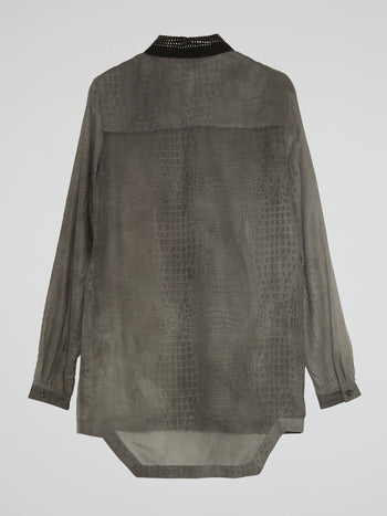 Grey Snake Effect Dress Shirt