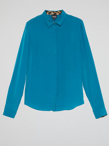 Blue Leopard Print Panel Shirt