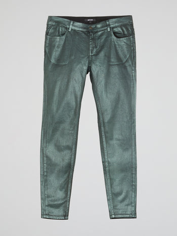 Green Metallic Slim Fit Jeans
