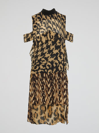Pattern Print Cut-Out Maxi Dress