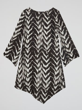 Printed High-Low Shift Dress