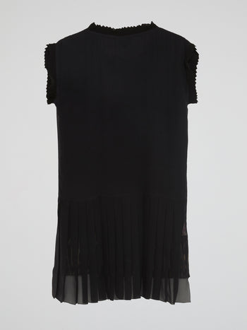 Pleated Trim Shift Dress