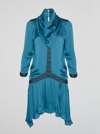 Blue Cowl Neck Frill Dress