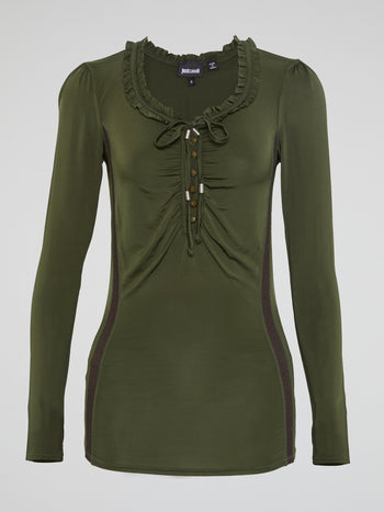 Olive Long Sleeve Frill Top
