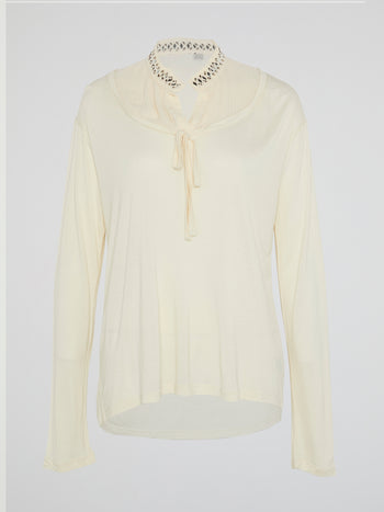 White Studded Collar Long Sleeve Top