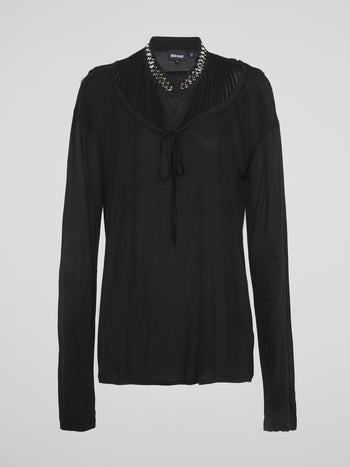 Black Studded Collar Long Sleeve Top