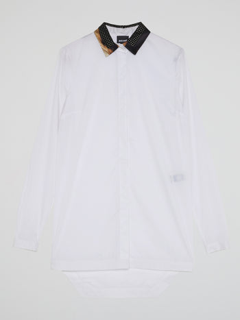 White Studded Collar Dress Shirt