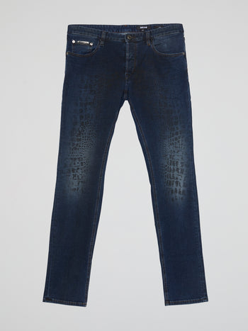 Navy Snake Effect Jeans