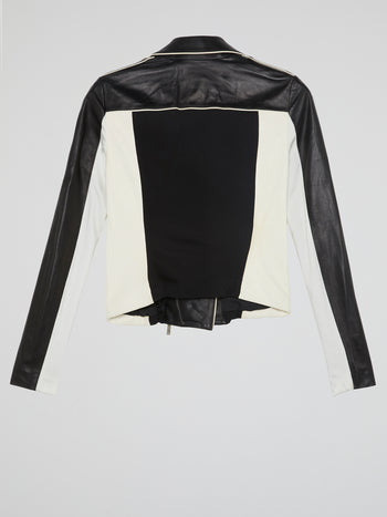 Contrast Leather Biker Jacket