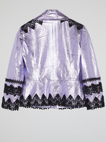 Purple Metallic Lace-Detail Blazer
