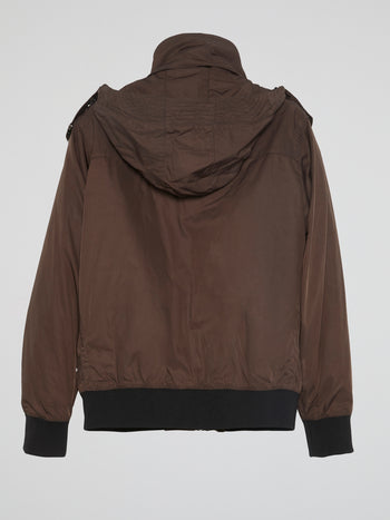 Brown Zipper-Detail Jacket
