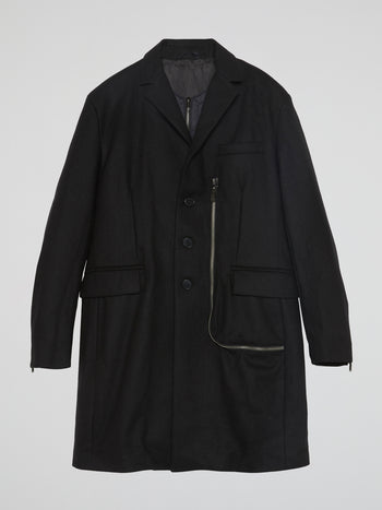 Black Zipper-Detail Trench Coat