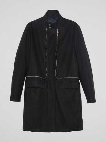 Black Zip-Up Trench Coat