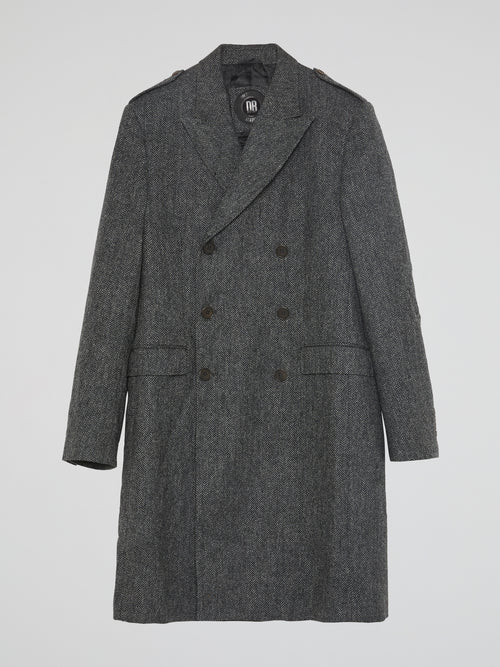 Grey Double-Breasted Tweed Trench Coat