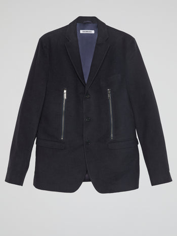 Navy Zipper-Detail Blazer